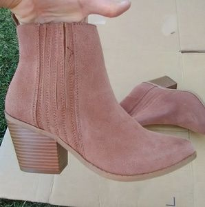 Faux suede brown Western ankle booties